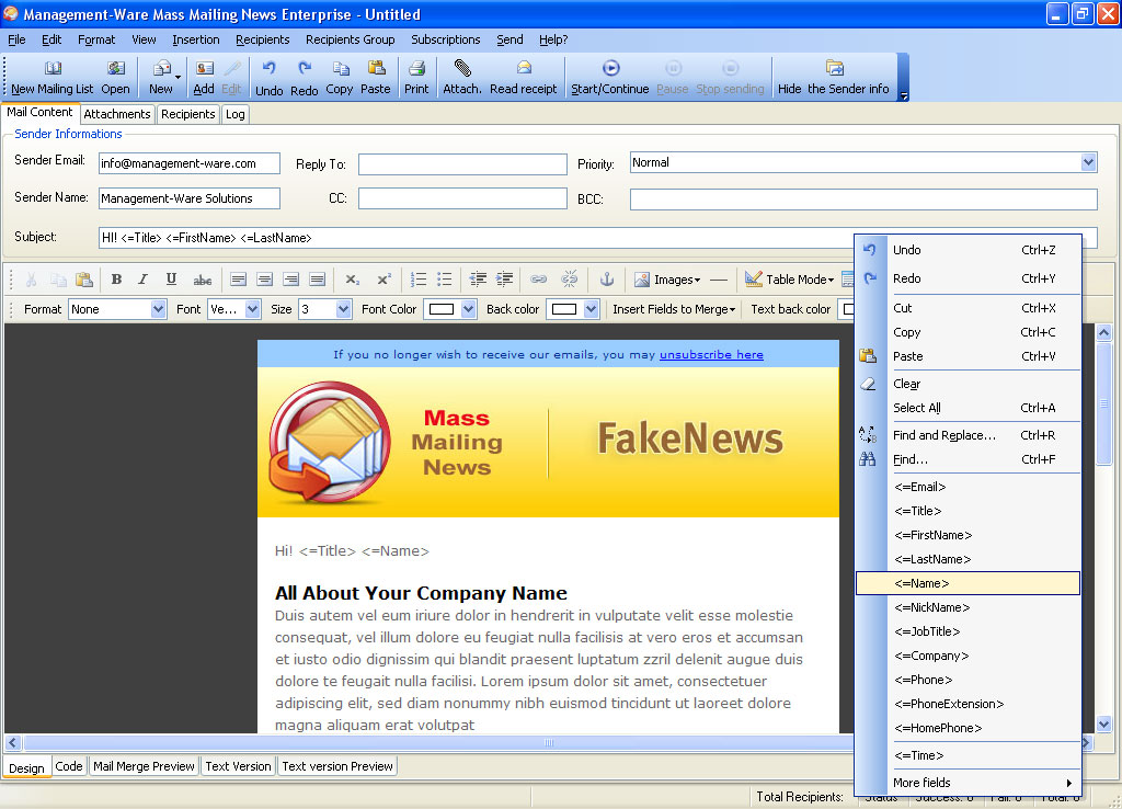 Mass Mailing News standard Edition Screen shot