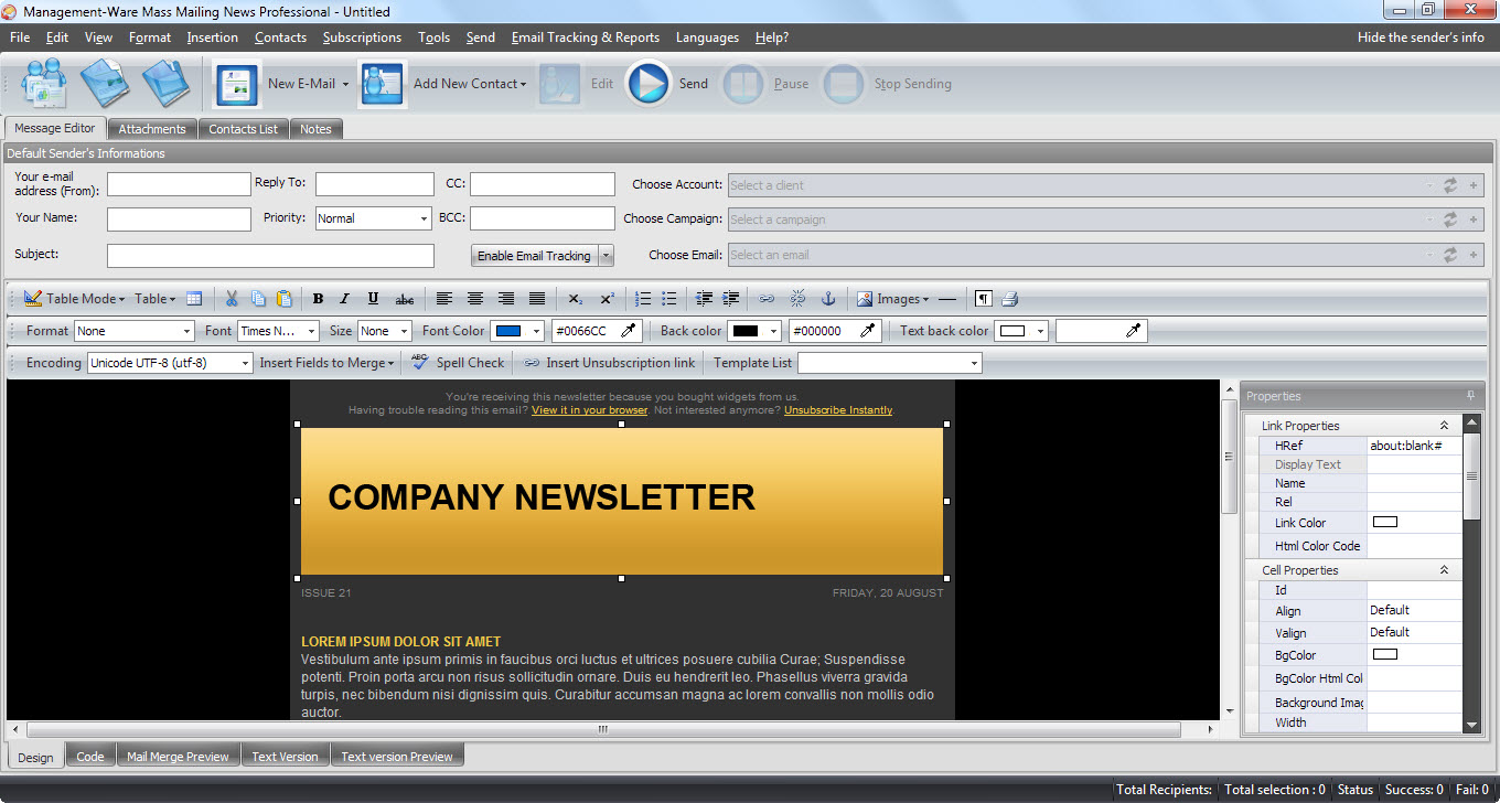Mass Mailing News Free Edition Screenshot