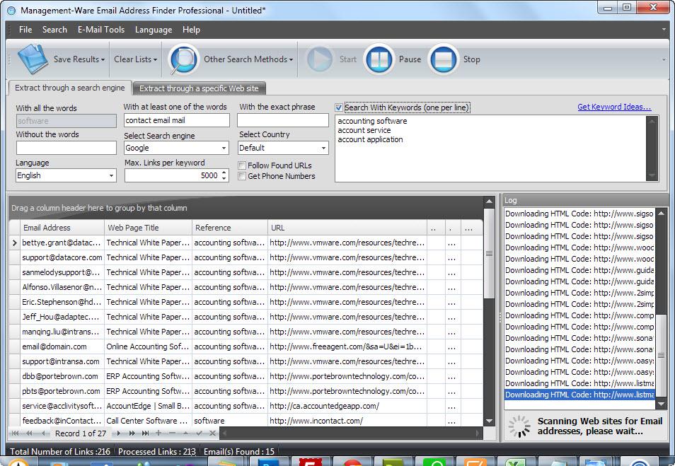 Email address lookup software - Email Address Finder screenshots